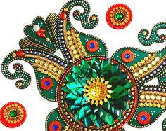 Wedding Kundan Rangoli Diwali Rangoli Kundan by JustForElegance