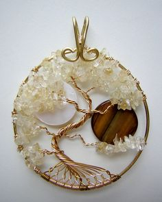 Sun And Moon Citrine Tree of Life Pendant by RachaelsWireGarden, $55.00