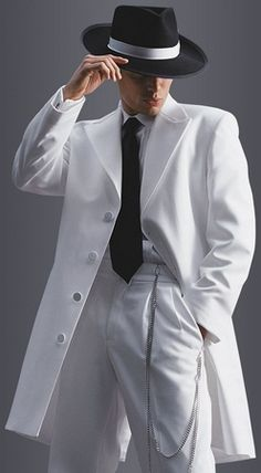 White Zoot Suits are what you need to wear if you're into swing dancing or going to a swing dance party. Get ready Cool Cats and bring back Swing dancing in a big way with a Zoot Suit just brimming with attitude. Mafia, White Tuxedo Wedding, Suit Fashion, Mens Fashion, Steampunk Fashion, Gothic Fashion, Costume Blanc, Mens Suits, 1920s
