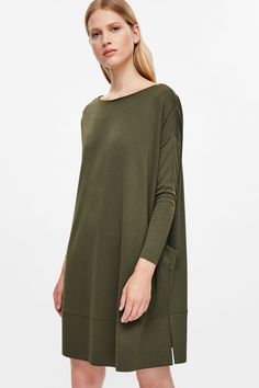 COS image 7 of Square-cut jersey dress in Khaki Green
