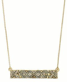 House of Harlow Necklace, Gold-Tone Pave Tribal Rectangle Bar Pendant Necklace - Fashion Jewelry - Jewelry & Watches - Macy's