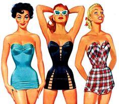 pin up vintage Pin Up Vintage, Moda Vintage, Vintage Ladies, Unique Vintage, Retro Swimwear, Vintage Swimsuits, 1950s Style, 1950s Fashion, Vintage Fashion