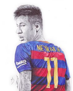 Ballpoint pen drawing of the Brazilian and Barcelona super star Neymar Jr. This guy is something special. Most definitely one of the best player in the world right now. His performance again Real Madrid was outstanding. only 23 years old, you will see a c… Neymar Football, Neymar Jr, Drawing Sketches, Drawings, Drawing Ideas, Ballpoint Pen Drawing, Messi And Ronaldo, Avengers Wallpaper, Pencil Portrait