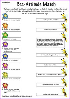 Match the flower (first part of a beatitude) with the bee (second part of a beatitude). Sunday School Classroom, Sunday School Kids, Sunday School Activities, Bible Activities, Sunday School Lessons, Sunday School Crafts, School Staff, Catholic Religious Education, Catholic Kids