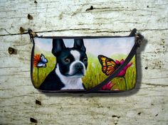 Small Clutch or Sling Bag Purse Dog 134 Boston Terrier Butterfly flower art painting L.Dumas by artbyLucie on Etsy