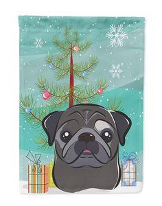 Carolines Treasures  BB1635GF Christmas Tree and Black Pug Flag Garden Size