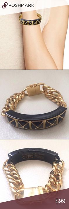 REBECCA MINKOFF black gold chains chunky bracelet This stylish bracelet from Rebecca Minkoff is perfect for adding a little edge to any outfit. So bad ass and far from being dainty ! Worn only once and is in brand new condition.✨ Rebecca Minkoff Jewelry Bracelets