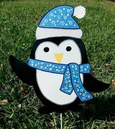 Penguin yard decoration Winter penguin by FlowerPowerShowers