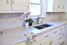 A must see drop dead gorgeous diy kitchen makeover with diy white concrete countertops Budget Kitchen Remodel, Kitchen Cabinet Remodel, Kitchen On A Budget, Home Decor Kitchen, Kitchen Ideas, Kitchen Cabinets, Kitchen Remodeling, Kitchen Tables, Kitchen Sinks