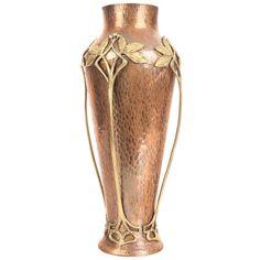 1stdibs   Large WMF Vase  Gingko Floral Thema  Art Nouveau Jugendstil Copper & Brass