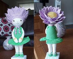 Water Lily Winnie flower doll made by Marijke K - crochet pattern by Zabbez