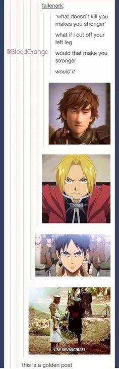 Hiccup (How To Train Your Dragon Edward Elric (Fullmetal Alchemist), Eren Jeager (Attack On Titan) and lastly Monty Python everyone. Otaku, Tumblr Stuff, Tumblr Posts, Geeks, Tumblr Funny, Funny Memes, Funny Facts, Ai No Kusabi, Rasengan Vs Chidori