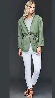 GAP Women's Linen Blend Relaxed Green Twig Blazer Light Jacket Size L Large New