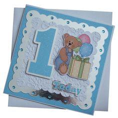 Handmade 1st Birthday Card (Blue) £1.80 1st Birthday Cards, Bday Cards, Girl Birthday, Birthday Ideas, Handmade Baby, Handmade Cards, Creative Cards, Kids Cards, Ava