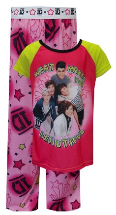 One Direction 1D What Makes You Beautiful Pajamas Perfect for any lovestruck 1D fan! These pajamas for girls are flame resistant fabric. They feature boy band members Liam, Harry, Niall, Louis and Zayn and the title of their signature song. Pants have the 1D logo and stars printed on a pink fabric. These fun jammies are machine washable and easy to care for.