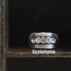 Danon Rings, the Danon Chunky Silver Swarovski Crystals Ring with simmering sparkle.