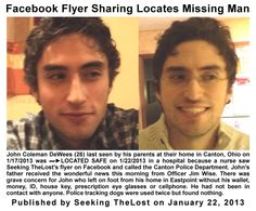 1/22/2013: John Coleman DeWees (26) last seen by his parents at their home in Canton, Ohio on 1/1... pinned with Pinvolve