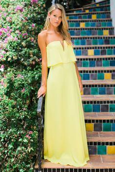 Strapless light yellow Blakely dress