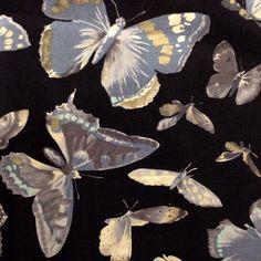 Alexander Henry Eton Butterfly Lawn, Black -$15/yard
