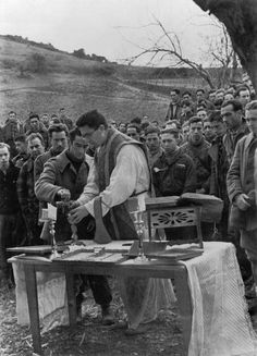 by David Seymour - SPAIN. Basques. Basque Republican soldiers were the only ones to celebrate mass before combat. Winter 1936-1937 // Magnum Photos