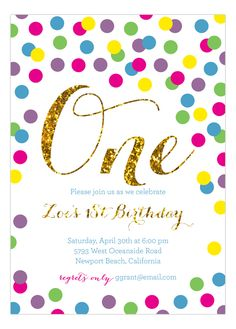 Rainbow Gold #Glitter #1stBirthday Invitation | Polka Dot Invitations #FirstBirthday
