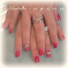 Ongles pleins rouges vif^ dégradé paillettes argentées/annulaire déco noeuds 3D (beauty nails)