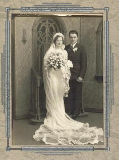 +~+~ Antique Photograph ~+~+   Beautiful and happy couple on their wedding day.