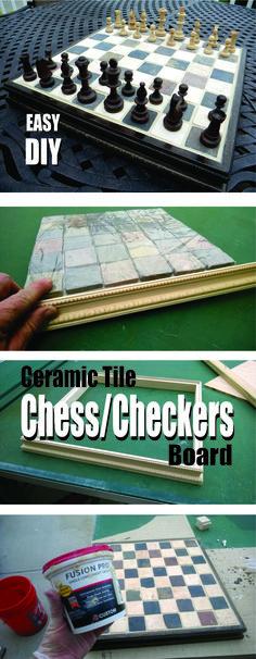 Easy DIY ceramic tile chess or checkers board… Diy Chess Set, Chess Sets, Chess Board Table, Chess Boards, Chess Board Setup, Game Boards, Board Games, Checkerboard Table, Beton Diy