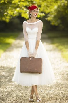 HEIDI Calf Tea Length 1950s Vintage Style Wedding Dress With Sheer Jacket