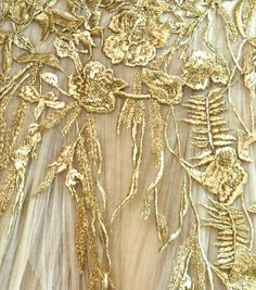 details show a gorgeous embroidered fabric on sheer chiffon with gold metallic thread.  Flowers, birds, and leaves.  SO lovely!