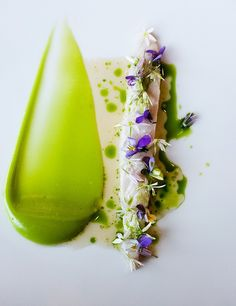 I'm not even sure what this is without clicking on the link, but it looks glorious. I'll hazard a guess of pea puree, chicken and edible flowers (the only obvious part). Dessert Design, Food Design, Wine Recipes, Gourmet Recipes, Michelin Star Food, Plate Presentation, Molecular Gastronomy, Edible Flowers, Edible Art