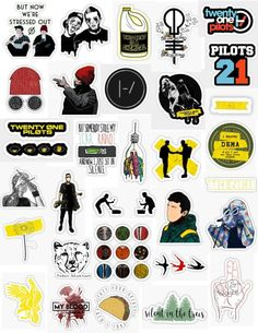 Twenty one pilots sticker pack stickers for editing fan edits overlay laptop stickers, hydroflask, tumblr aesthetic redbubble stickers top 21 pilots Josh dun tyler joseph trench album artists singers blurrface songs music chlorine dema yellow red