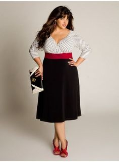 Laura Vintage Dress from IGIGI. Love how they always define the waist. Very important in plus-sized clothed.