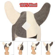 100% Wool Felt Viking Sauna Hat Soft Comfortable Head Hair Protect From Steam room Overheating