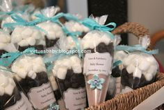 Baby Shower Decorations on a budget. Winter theme baby Shower favors. Hot coco, chocolate, and marshmelllow goodies.