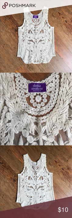 Dottie Couture English Rose Lace Tank Great condition! Bust 16 length 24.5 Dottie Couture Tops Tank Tops