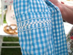 embroidery with ricrac on gingham