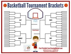 FREE Basketball Tournament Bracket Printable from http://growingupgabel.com @Shelly Gabel #printable