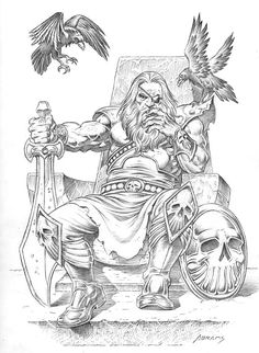 Odin by PaulAbrams on DeviantArt Viking Tattoo Sleeve, Norse Tattoo, Celtic Tattoos, Viking Drawings, Cool Drawings, Viking Symbols, Viking Art, Viking Life, Viking Character