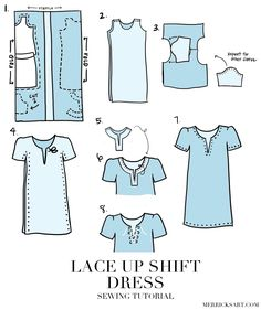 Merrick's Art // Style + Sewing for the Everyday Girl: DIY LACE UP CHAMBRAY SHIFT DRESS