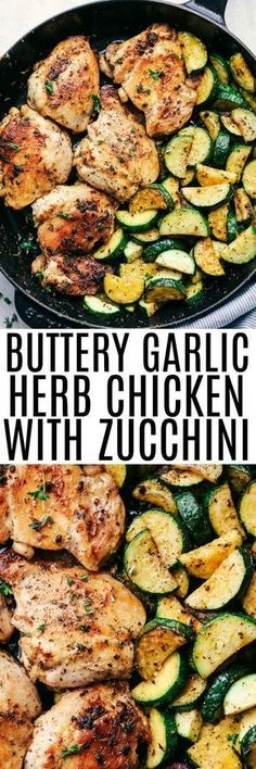 How to Make Buttery Garlic Herb Chicken with Zucchini. This recipe is a easy 30 minute meal that has tender and juicy chicken cooked in a buttery garlic herb sauce with zucchini. This dish is cooked with fresh herbs and is incredible! New Recipes, Cooking Recipes, Recipies, Easy Dinner Recipes, Cooking Games, Cooking Videos, Cooking Classes, Cooking Tips, Sausage Recipes