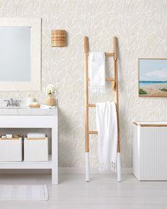 Make your home an oasis to retreat & recharge. The first step? Creating a spa-like powder room. Bathroom Ladder, Boho Bathroom, Coastal Bathrooms, Bathroom Inspo, Bathroom Interior, Bathroom Ideas, Luxury Bath, Home Bedroom, Decoration