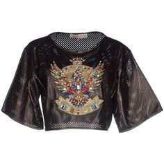 Emilio Pucci Blouse (2.855 RON) ❤ liked on Polyvore featuring tops, blouses, black, beaded blouse, emilio pucci blouse, short-sleeve blouse, emilio pucci and round collar blouse