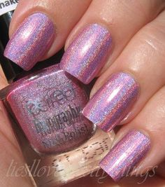 Perfect Holographic H5 #nails #pinknails #shimmernails