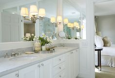 Suzie: Ashley Goforth Design - Beautiful traditional master ensuite bathroom with white ...