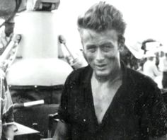 Candid photo of James Dean on the set of Giant
