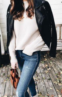 Moto jacket + sweater.