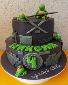Savory magic cake with roasted peppers and tandoori - Clean Eating Snacks Ninja Turtle Birthday Cake, Ninja Cake, Tmnt Cake, Turtle Birthday Parties, Ninja Turtle Party, Lego Cake, Ninja Turtles, Ninja Turtle Cakes, Ninja Party