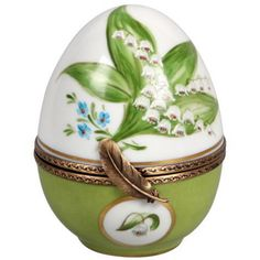 Porcelain Limoges Egg with Handpainted Lily of the Valley Motif / Laure Selignac