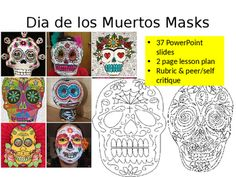 $1.75 - One of my favorite October projects! This lesson is an awesome way for students to learn about Dia de los Muertos and celebrate Hispanic Heritage month! Topic: Dia de los Muertos masksDuration : 4-5 classesIncludes: 46 slide PowerPoint lesson, a lesson plan, a rubric (which includes self reflection and peer critique), and a bonus crossword puzzle and How-to draw a skull for early finishers!Medium: Papier mache maskConcepts/Vocabulary taught: El Da de los Muertos, mask, Papier mache…
